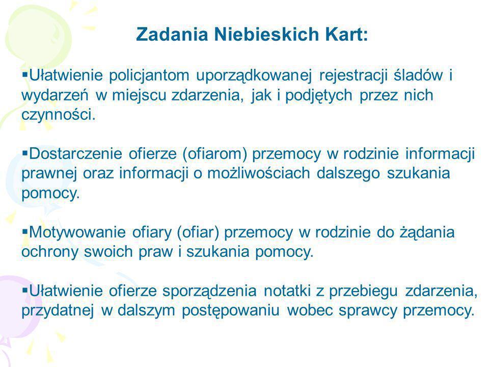 Zadania Niebieskich Kart: Ułatwienie policjantom uporządkowanej rejestracji śladów i wydarzeń w miejscu zdarzenia, jak i podjętych przez nich czynnośc