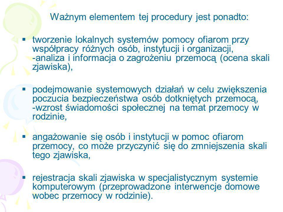 Ważnym elementem tej procedury jest ponadto: tworzenie lokalnych systemów pomocy ofiarom przy współpracy różnych osób, instytucji i organizacji, -anal