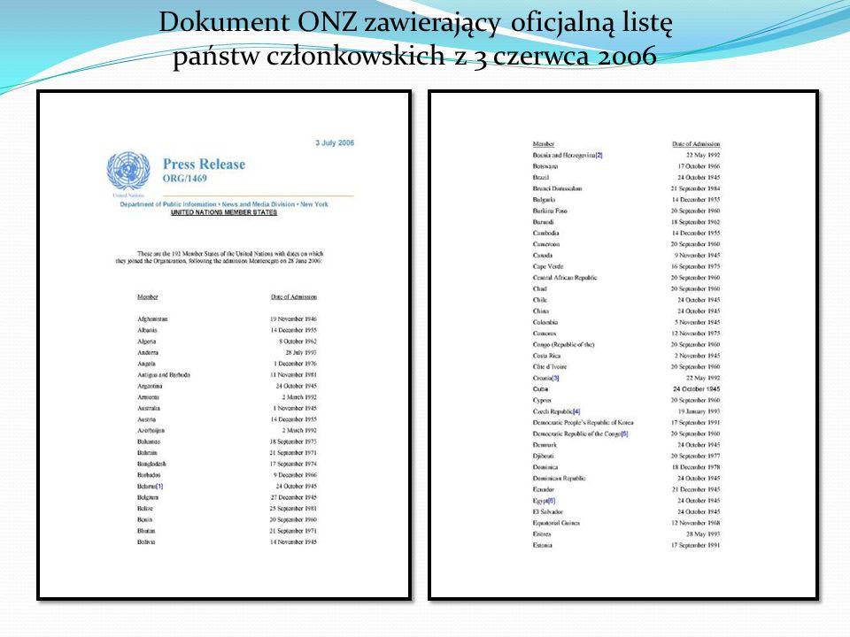 Dokument ONZ zawierający oficjalną listę państw członkowskich z 3 czerwca 2006