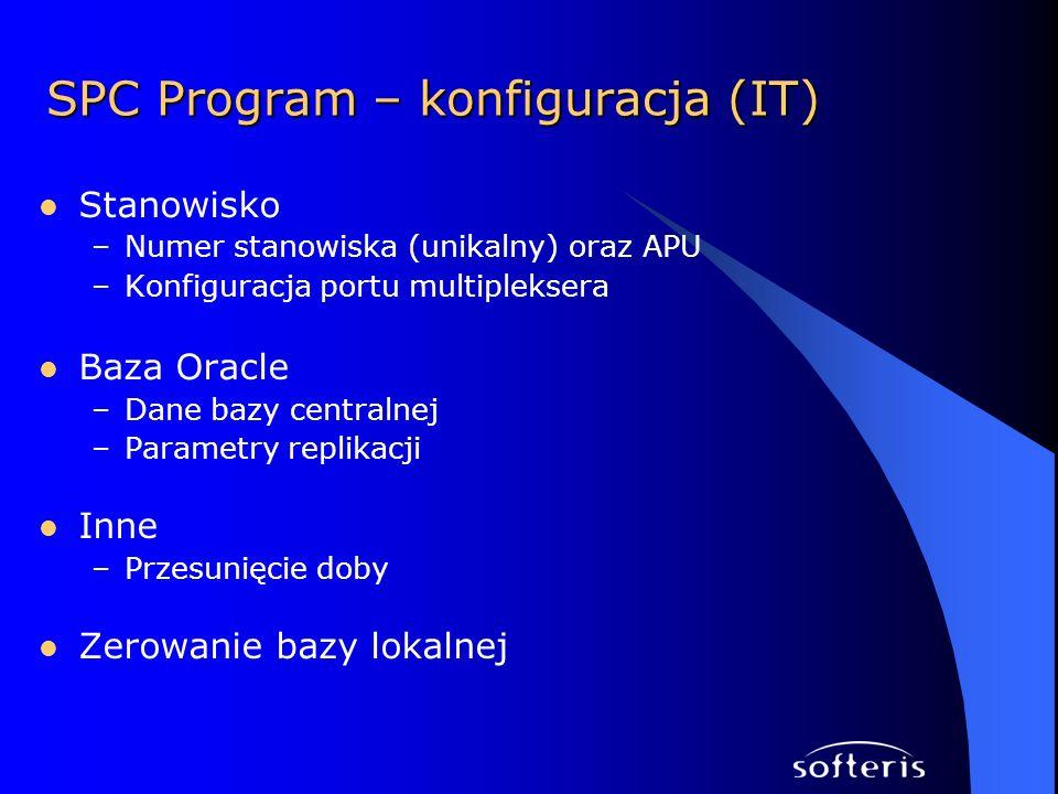 SPC Program – konfiguracja (IT) Stanowisko –Numer stanowiska (unikalny) oraz APU –Konfiguracja portu multipleksera Baza Oracle –Dane bazy centralnej –