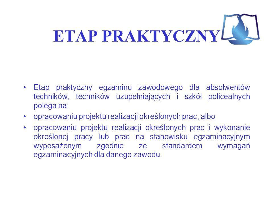 ETAP PRAKTYCZNY Etap praktyczny egzaminu zawodowego dla absolwentów techników, techników uzupełniających i szkół policealnych polega na: opracowaniu p