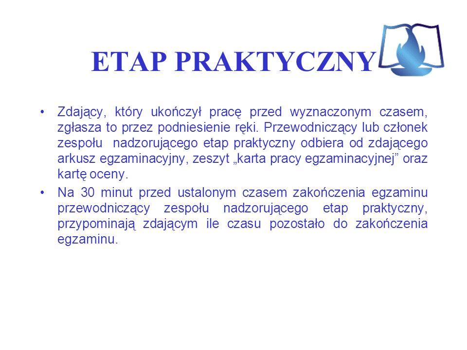 ETAP PRAKTYCZNY Zdający, który ukończył pracę przed wyznaczonym czasem, zgłasza to przez podniesienie ręki. Przewodniczący lub członek zespołu nadzoru