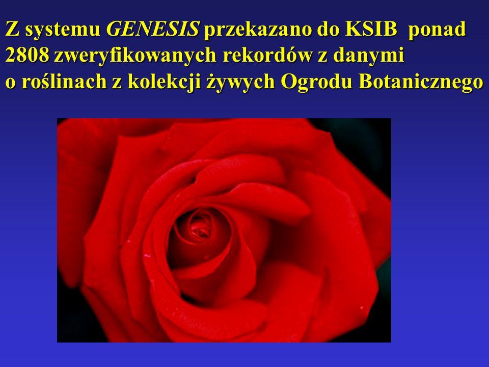 Z systemu GENESIS przekazano do KSIB ponad 2808 zweryfikowanych rekordów z danymi o roślinach z kolekcji żywych Ogrodu Botanicznego