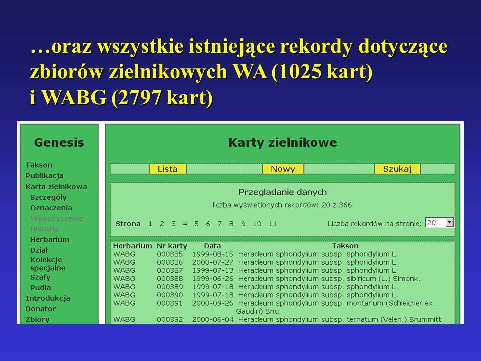 …oraz wszystkie istniejące rekordy dotyczące zbiorów zielnikowych WA (1025 kart) i WABG (2797 kart)