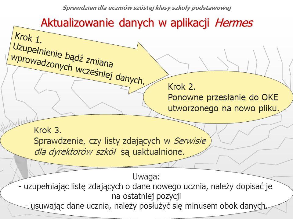 Okręgowa Komisja Egzaminacyjna w Gdańsku, marzec 2013 r. 10 Aktualizowanie danych w aplikacji Hermes Sprawdzian dla uczniów szóstej klasy szkoły podst