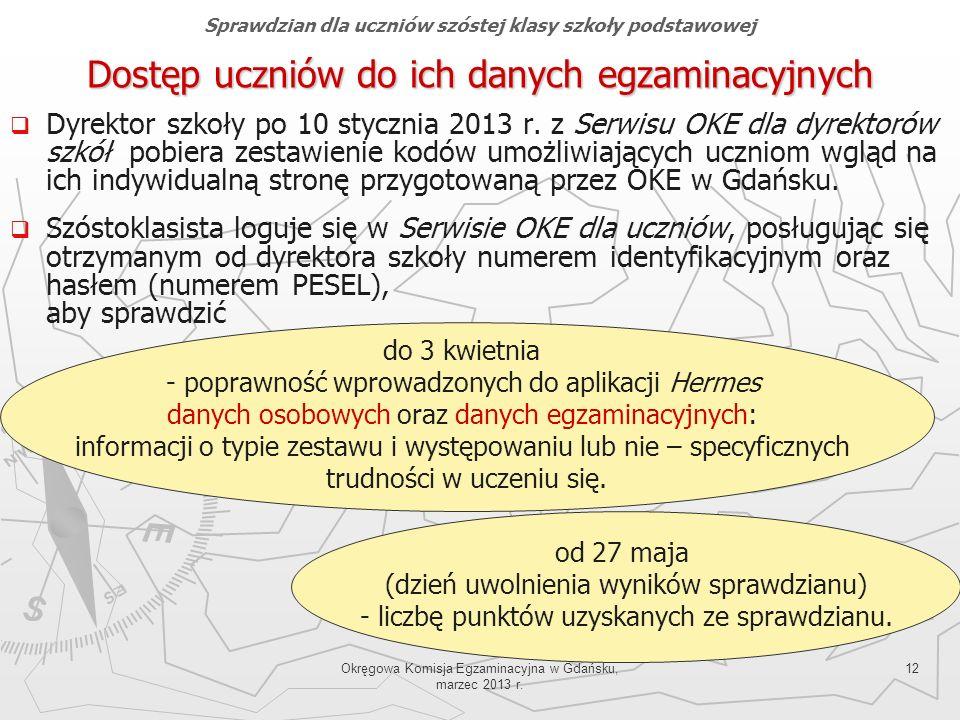 Okręgowa Komisja Egzaminacyjna w Gdańsku, marzec 2013 r. 12 Dyrektor szkoły po 10 stycznia 2013 r. z Serwisu OKE dla dyrektorów szkół pobiera zestawie
