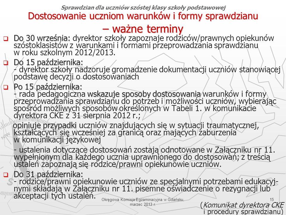Okręgowa Komisja Egzaminacyjna w Gdańsku, marzec 2013 r. 15 Dostosowanie uczniom warunków i formy sprawdzianu – ważne terminy Do 30 września: Do 30 wr