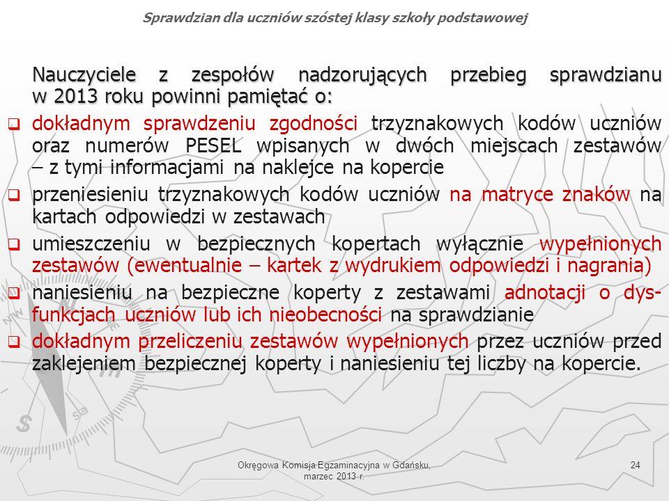 Okręgowa Komisja Egzaminacyjna w Gdańsku, marzec 2013 r. 24 Nauczyciele z zespołów nadzorujących przebieg sprawdzianu w 2013 roku powinni pamiętać o: