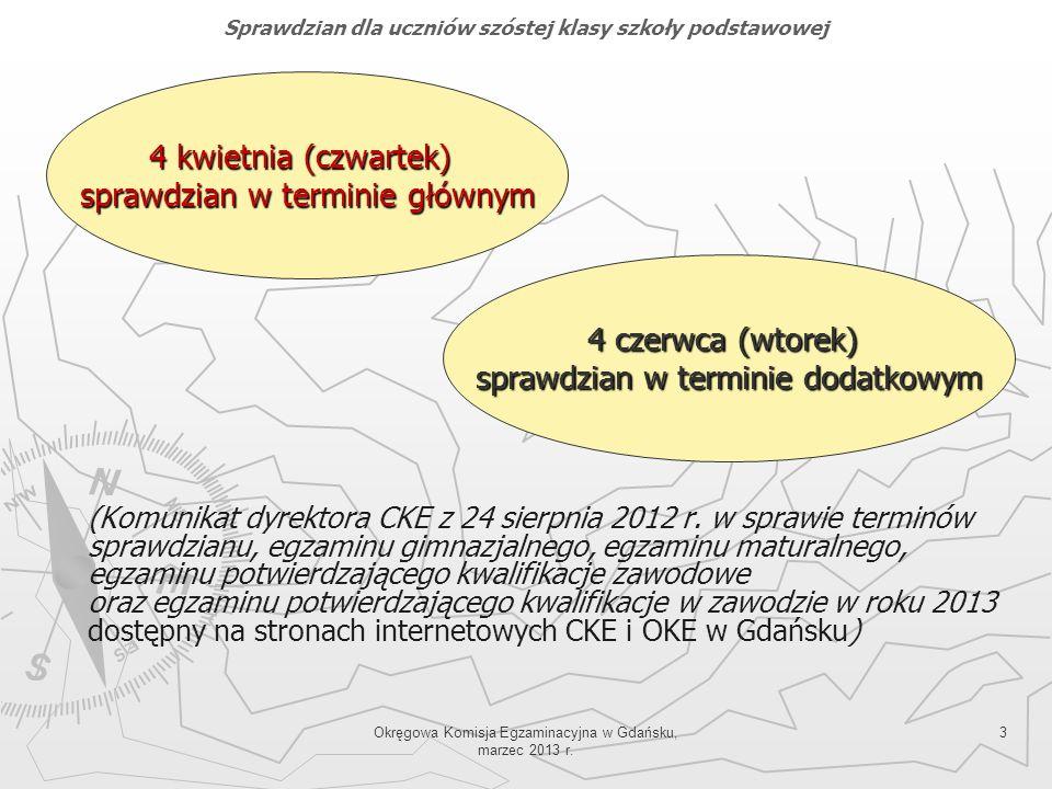 Okręgowa Komisja Egzaminacyjna w Gdańsku, marzec 2013 r. 3 (Komunikat dyrektora CKE z 24 sierpnia 2012 r. w sprawie terminów sprawdzianu, egzaminu gim