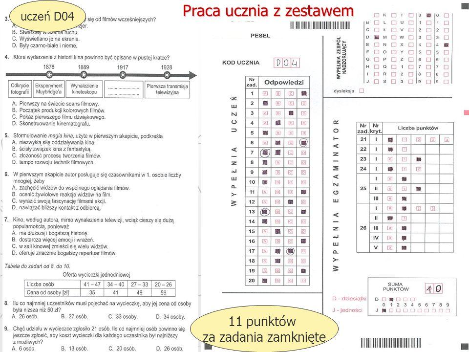 Okręgowa Komisja Egzaminacyjna w Gdańsku, marzec 2013 r. 37 uczeń D04 11 punktów za zadania zamknięte Praca ucznia z zestawem
