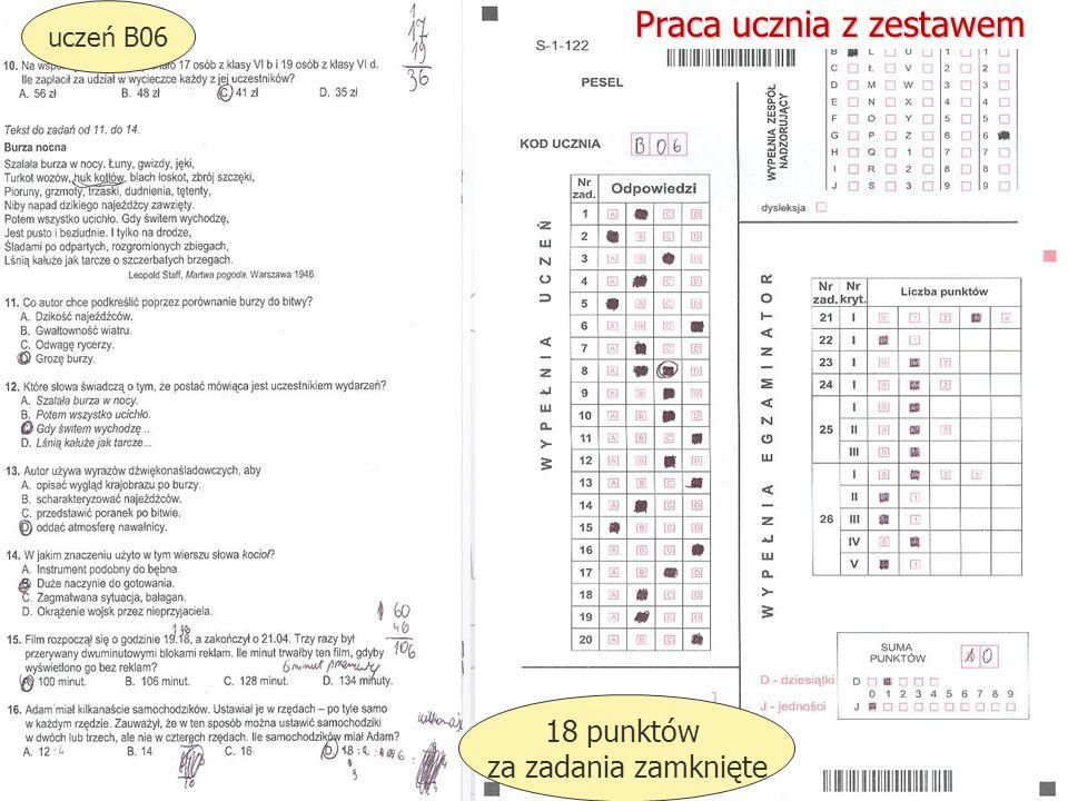 Okręgowa Komisja Egzaminacyjna w Gdańsku, marzec 2013 r. 39 uczeń B06 18 punktów za zadania zamknięte Praca ucznia z zestawem