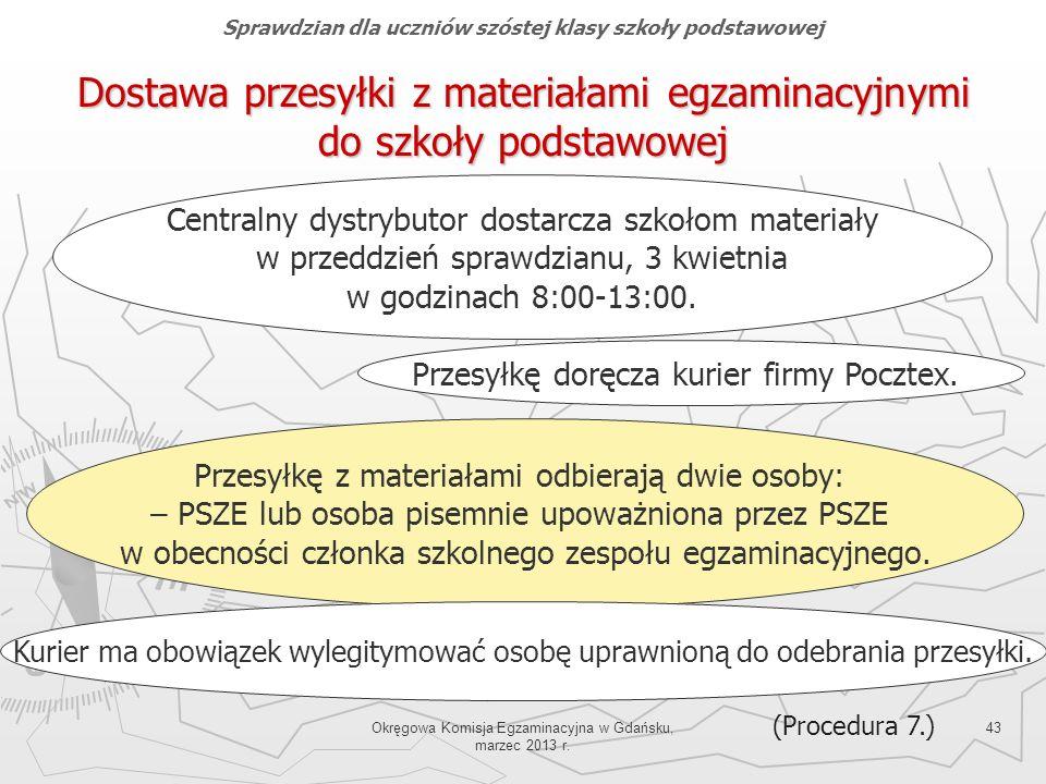 Okręgowa Komisja Egzaminacyjna w Gdańsku, marzec 2013 r. 43 Dostawa przesyłki z materiałami egzaminacyjnymi do szkoły podstawowej Centralny dystrybuto