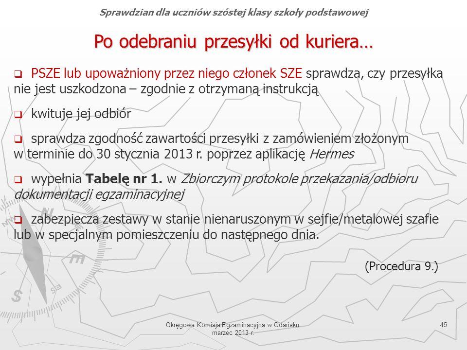 Okręgowa Komisja Egzaminacyjna w Gdańsku, marzec 2013 r. 45 Po odebraniu przesyłki od kuriera… PSZE lub upoważniony przez niego członek SZE sprawdza,