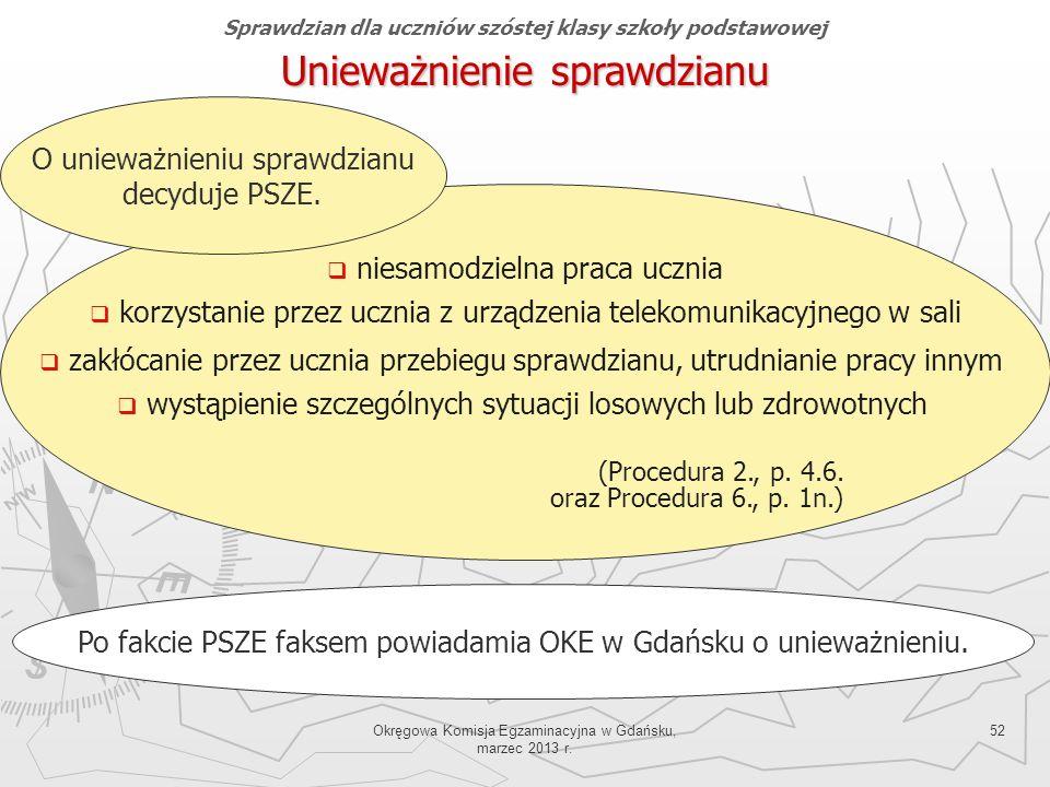 Okręgowa Komisja Egzaminacyjna w Gdańsku, marzec 2013 r. 52 Sprawdzian dla uczniów szóstej klasy szkoły podstawowej Unieważnienie sprawdzianu Po fakci