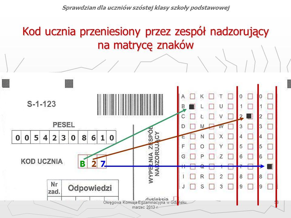 Okręgowa Komisja Egzaminacyjna w Gdańsku, marzec 2013 r. 58 Kod ucznia przeniesiony przez zespół nadzorujący na matrycę znaków B27 00542308610 S-1-123