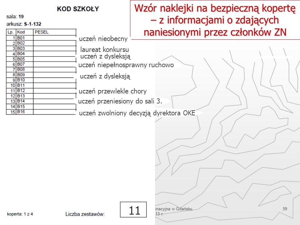 Okręgowa Komisja Egzaminacyjna w Gdańsku, marzec 2013 r. 59 Wzór naklejki na bezpieczną kopertę – z informacjami o zdających naniesionymi przez członk