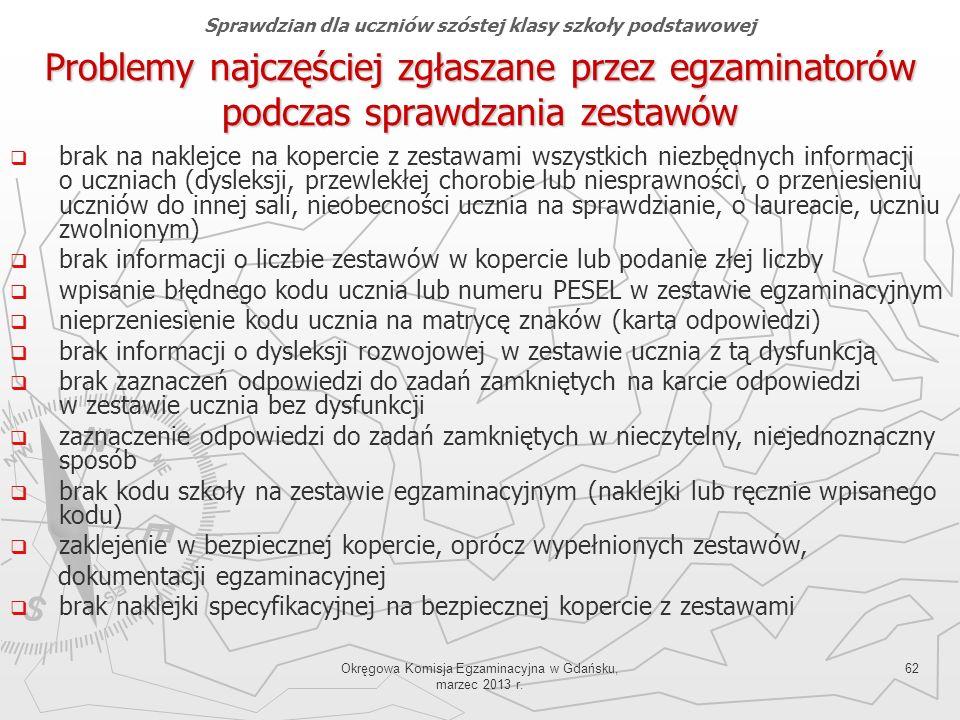 Okręgowa Komisja Egzaminacyjna w Gdańsku, marzec 2013 r. 62 Problemy najczęściej zgłaszane przez egzaminatorów podczas sprawdzania zestawów brak na na