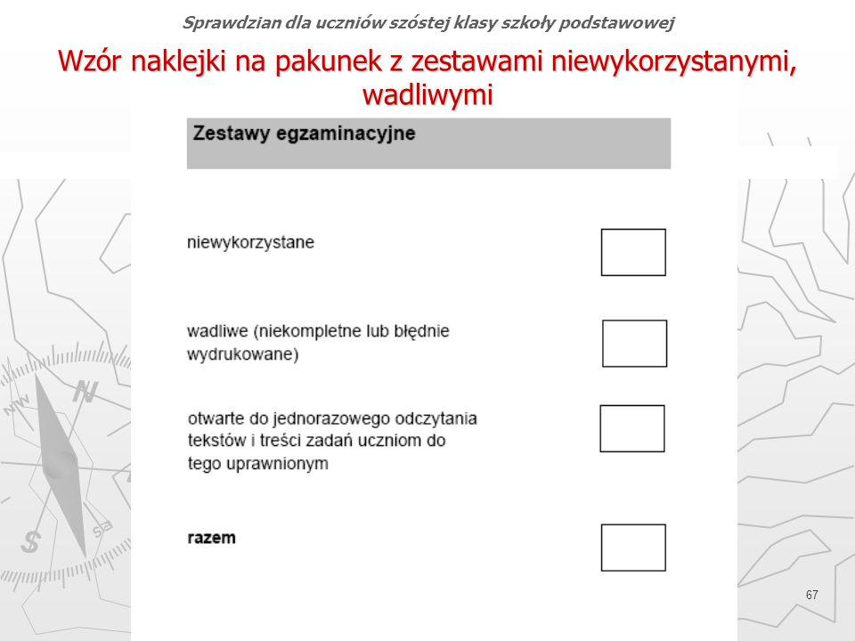 Okręgowa Komisja Egzaminacyjna w Gdańsku, marzec 2013 r. 67 Wzór naklejki na pakunek z zestawami niewykorzystanymi, wadliwymi Sprawdzian dla uczniów s