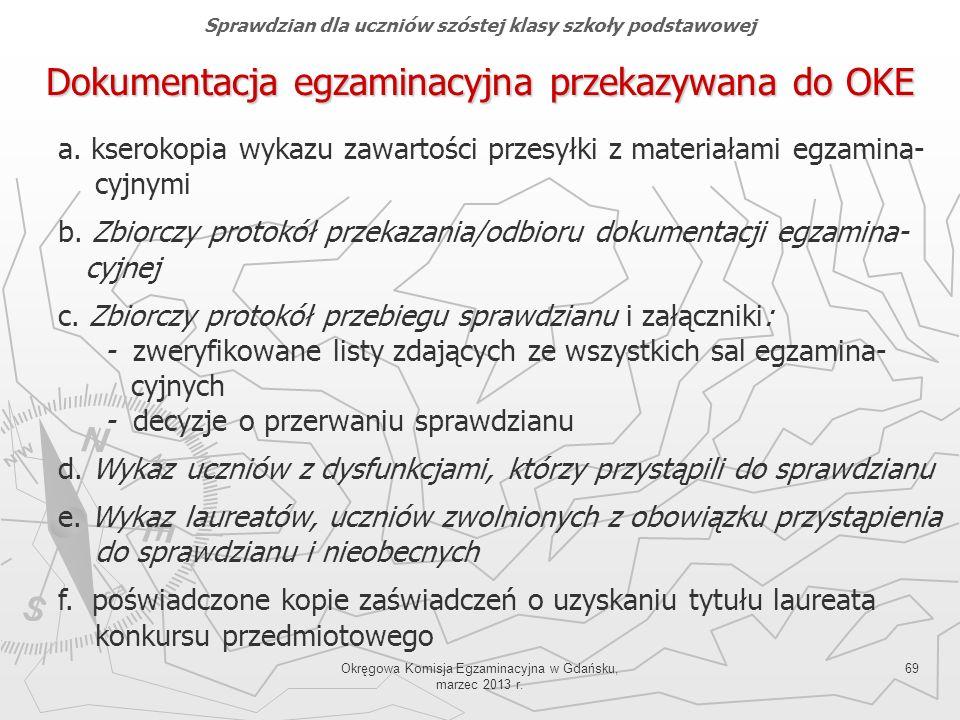 Okręgowa Komisja Egzaminacyjna w Gdańsku, marzec 2013 r. 69 Dokumentacja egzaminacyjna przekazywana do OKE a. kserokopia wykazu zawartości przesyłki z