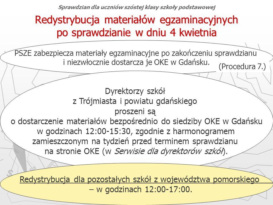 Okręgowa Komisja Egzaminacyjna w Gdańsku, marzec 2013 r. 70 Redystrybucja materiałów egzaminacyjnych po sprawdzianie w dniu 4 kwietnia PSZE zabezpiecz
