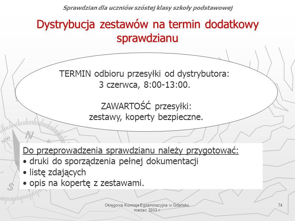 Okręgowa Komisja Egzaminacyjna w Gdańsku, marzec 2013 r. 74 Dystrybucja zestawów na termin dodatkowy sprawdzianu TERMIN odbioru przesyłki od dystrybut