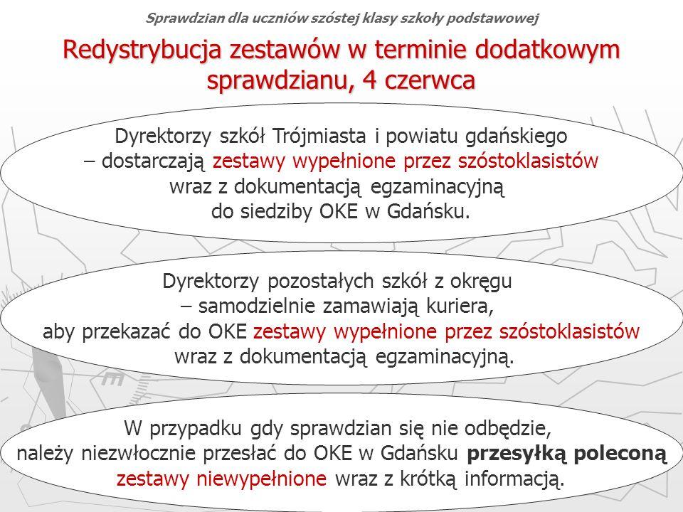 Okręgowa Komisja Egzaminacyjna w Gdańsku, marzec 2013 r. 75 Redystrybucja zestawów w terminie dodatkowym sprawdzianu, 4 czerwca Dyrektorzy szkół Trójm
