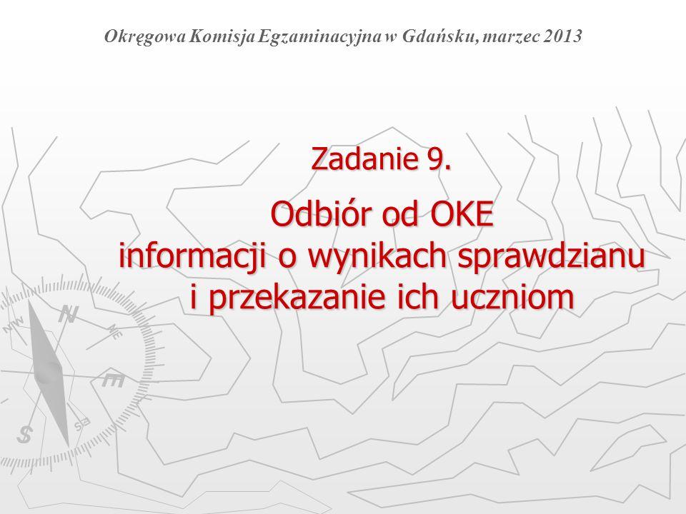 Zadanie 9. Odbiór od OKE informacji o wynikach sprawdzianu i przekazanie ich uczniom Okręgowa Komisja Egzaminacyjna w Gdańsku, marzec 2013