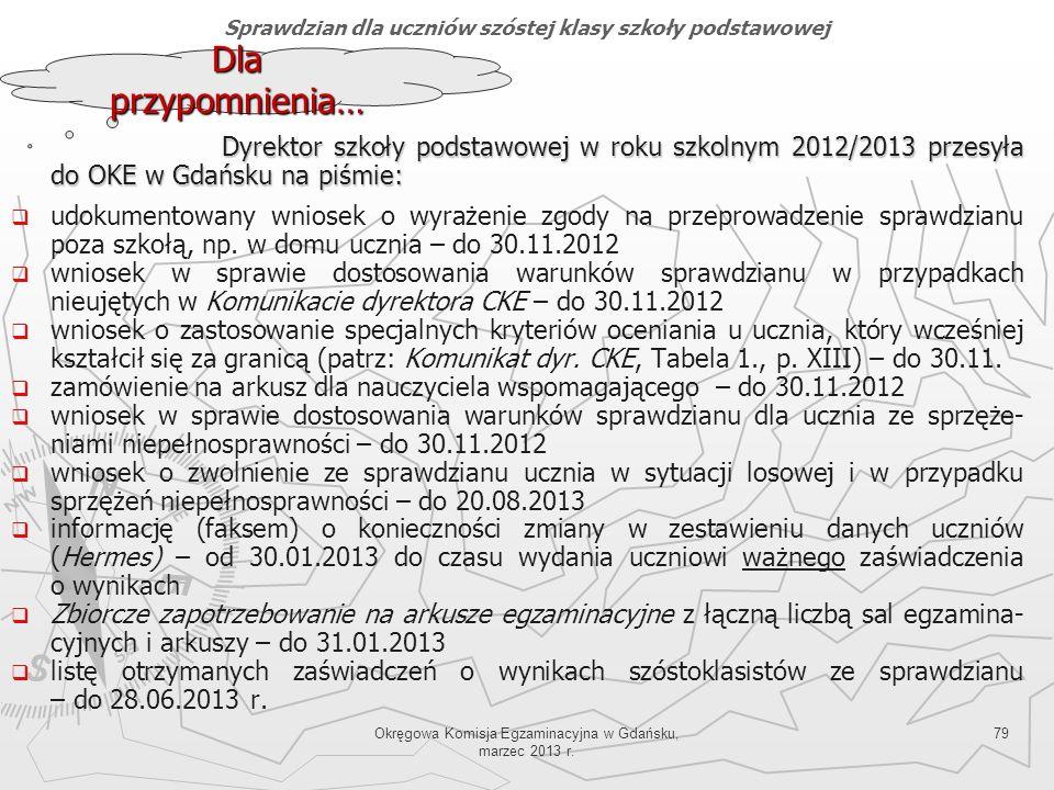 Okręgowa Komisja Egzaminacyjna w Gdańsku, marzec 2013 r. 79 Dyrektor szkoły podstawowej w roku szkolnym 2012/2013 przesyła do OKE w Gdańsku na piśmie: