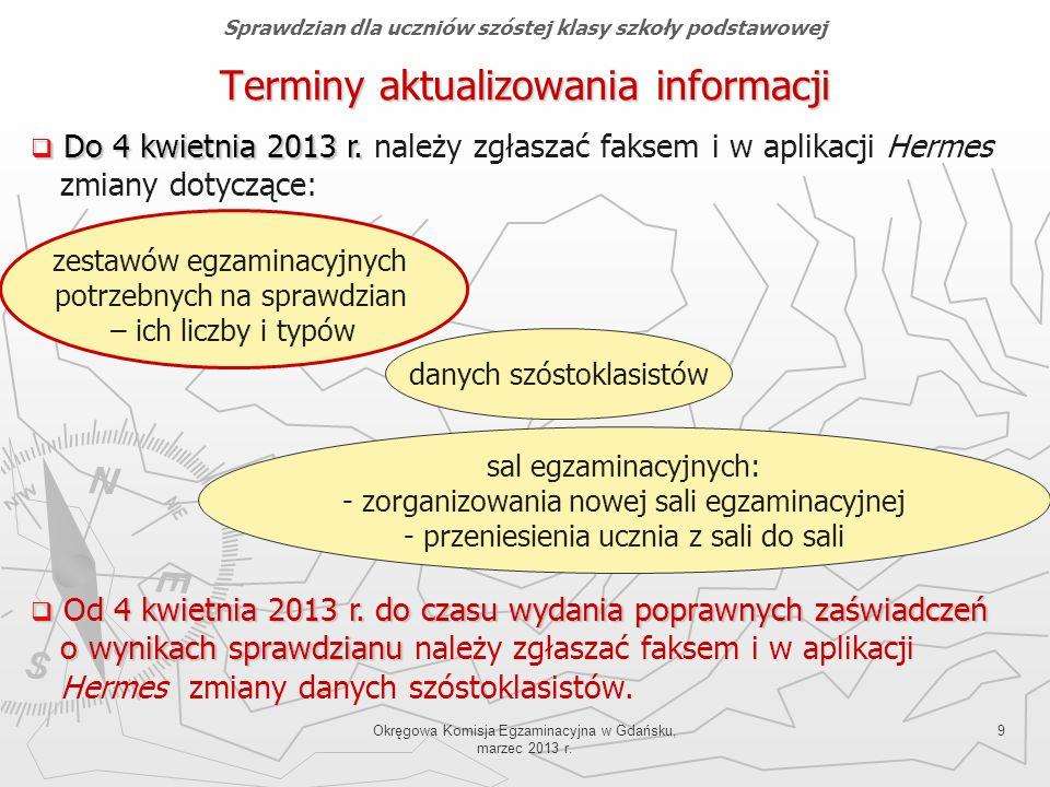 Okręgowa Komisja Egzaminacyjna w Gdańsku, marzec 2013 r. 9 Terminy aktualizowania informacji Do 4 kwietnia 2013 r. Do 4 kwietnia 2013 r. należy zgłasz