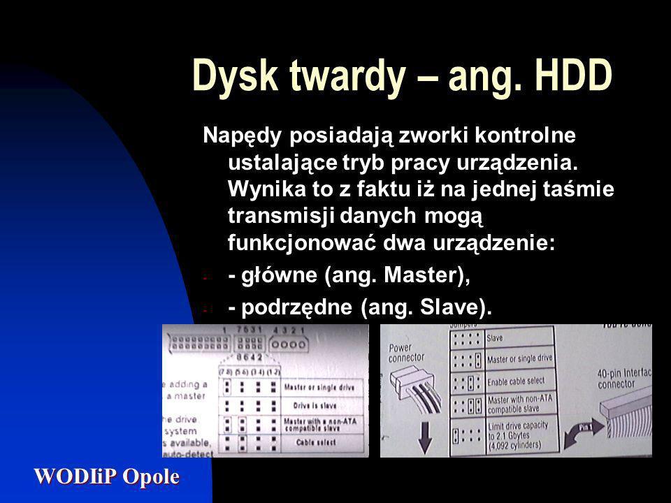 WODIiP Opole Dysk twardy – ang. HDD Napędy posiadają zworki kontrolne ustalające tryb pracy urządzenia. Wynika to z faktu iż na jednej taśmie transmis