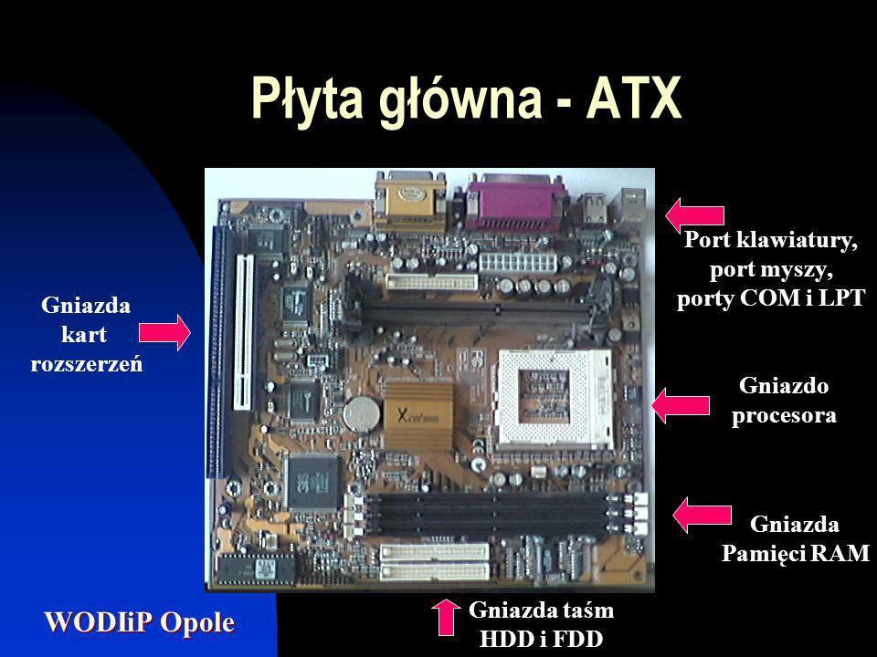 WODIiP Opole Płyta główna - ATX Port klawiatury i myszy PS/2 Porty USB Port COM Port monitoraGniazda dźwięku Port LPTPort MIDI
