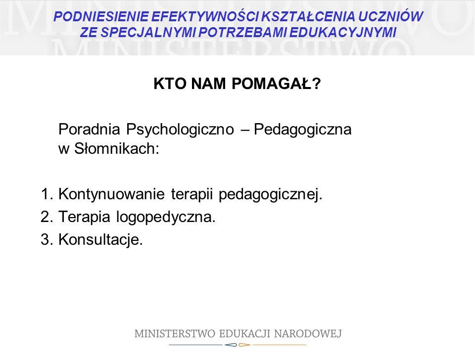 KTO NAM POMAGAŁ? Poradnia Psychologiczno – Pedagogiczna w Słomnikach: 1.Kontynuowanie terapii pedagogicznej. 2.Terapia logopedyczna. 3.Konsultacje.