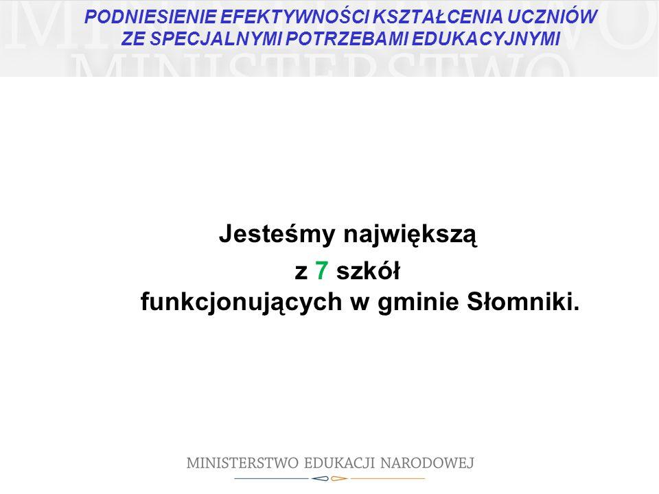 Jesteśmy największą z 7 szkół funkcjonujących w gminie Słomniki.