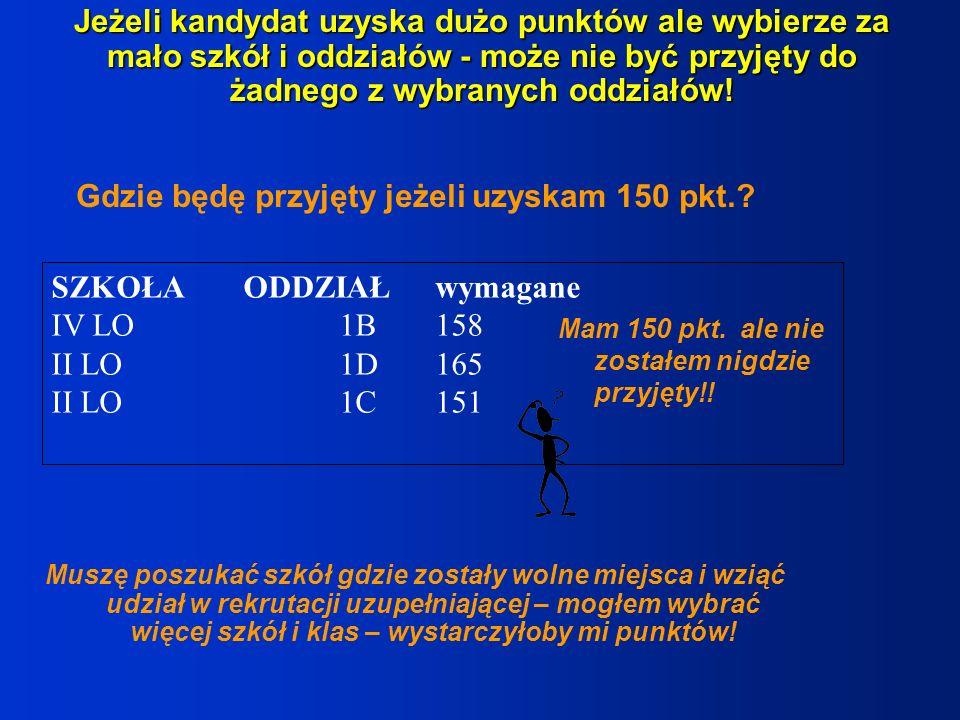 Gdzie będę przyjęty jeżeli uzyskam 150 pkt.? SZKOŁAODDZIAŁwymagane IV LO1B158 II LO1D165 II LO1C151 Jeżeli kandydat uzyska dużo punktów ale wybierze z
