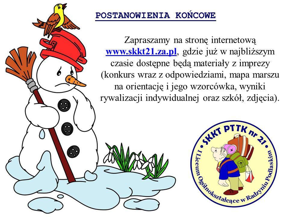POSTANOWIENIA KOŃCOWE Zapraszamy na stronę internetową www.skkt21.za.pl, gdzie już w najbliższym czasie dostępne będą materiały z imprezy (konkurs wra