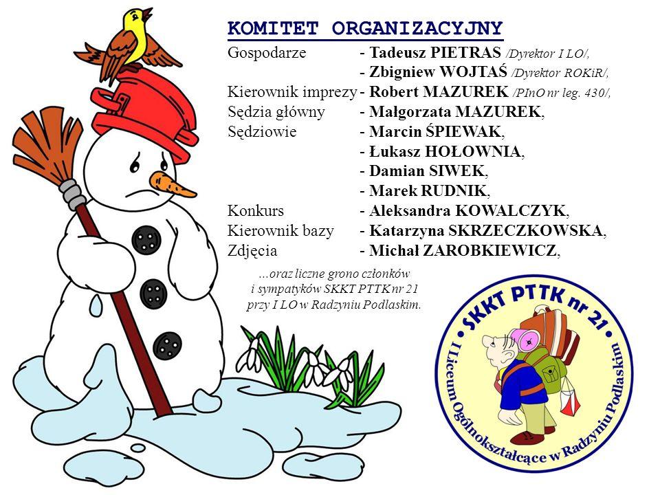 KOMITET ORGANIZACYJNY Gospodarze- Tadeusz PIETRAS /Dyrektor I LO/, - Zbigniew WOJTAŚ /Dyrektor ROKiR/, Kierownik imprezy- Robert MAZUREK /PInO nr leg.