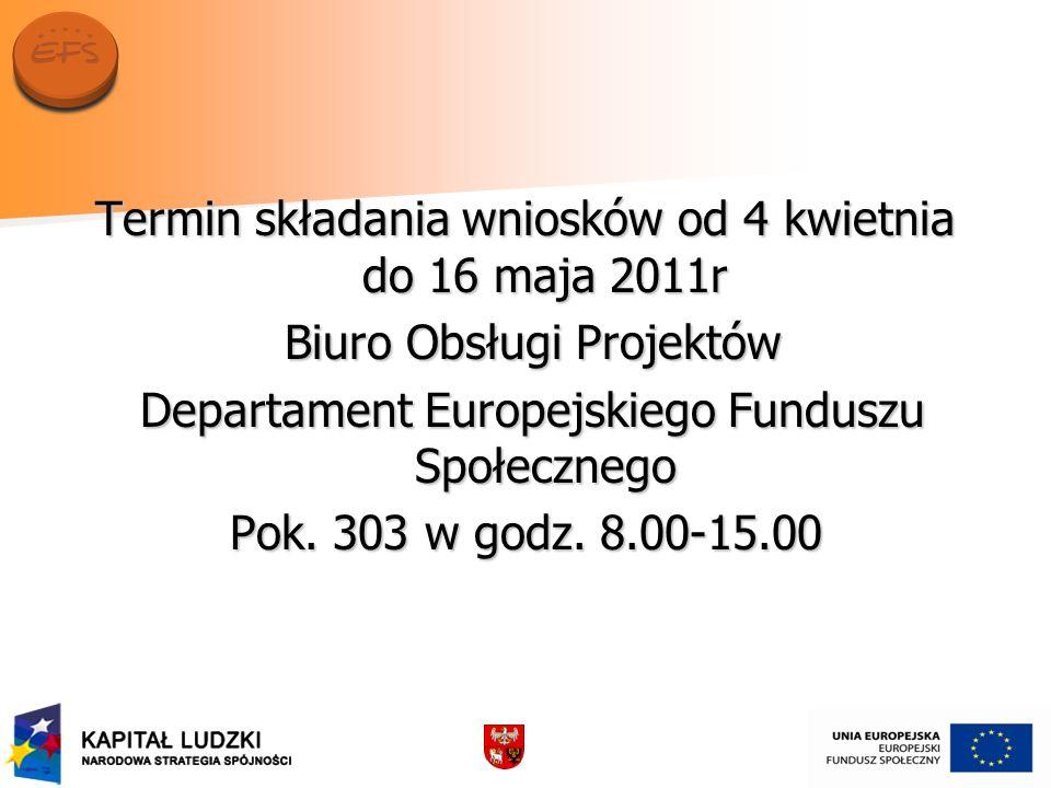Termin składania wniosków od 4 kwietnia do 16 maja 2011r Biuro Obsługi Projektów Biuro Obsługi Projektów Departament Europejskiego Funduszu Społeczneg