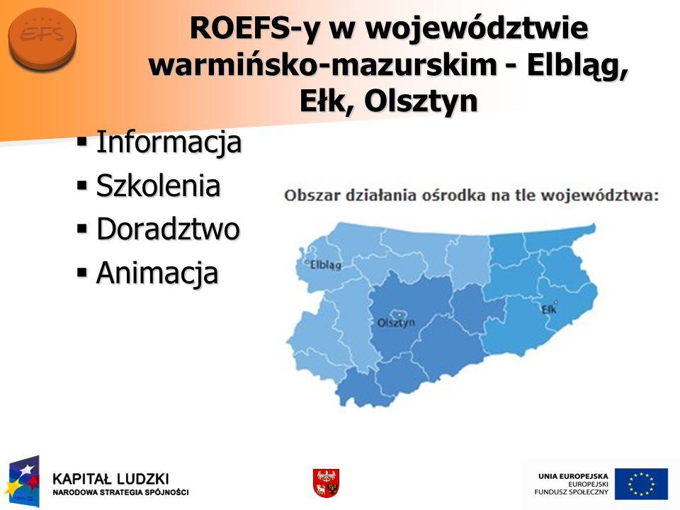 ROEFS-y w województwie warmińsko-mazurskim - Elbląg, Ełk, Olsztyn Informacja Informacja Szkolenia Szkolenia Doradztwo Doradztwo Animacja Animacja