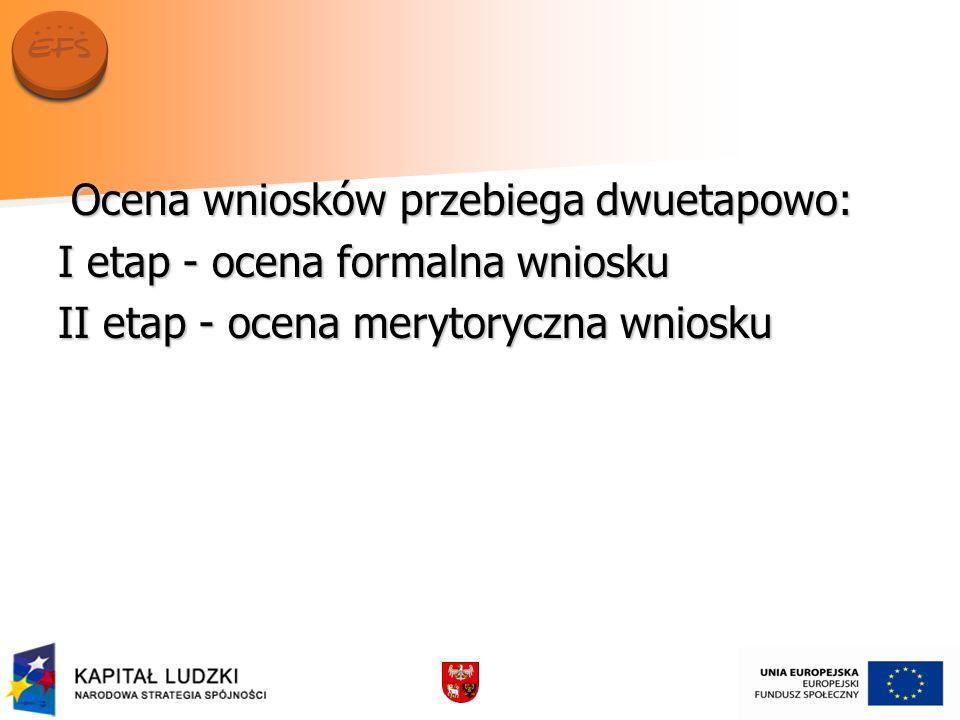 Ocena wniosków przebiega dwuetapowo: Ocena wniosków przebiega dwuetapowo: I etap - ocena formalna wniosku II etap - ocena merytoryczna wniosku