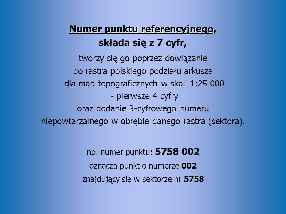 Numer punktu referencyjnego Numer punktu referencyjnego, składa się z 7 cyfr, tworzy się go poprzez dowiązanie do rastra polskiego podziału arkusza dl