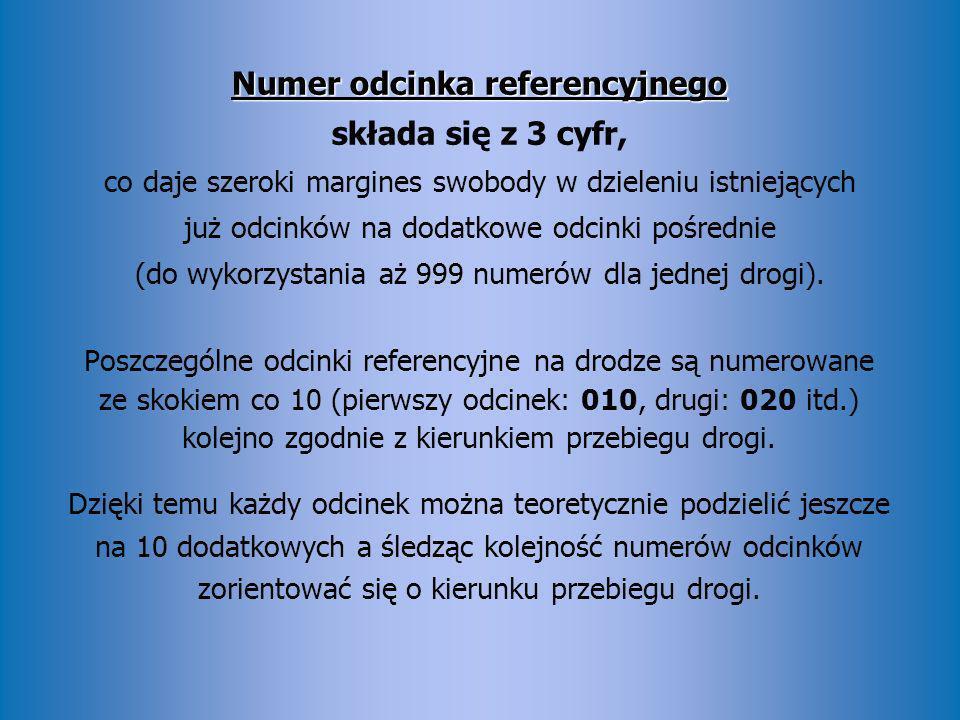 Numer odcinka referencyjnego Numer odcinka referencyjnego składa się z 3 cyfr, co daje szeroki margines swobody w dzieleniu istniejących już odcinków