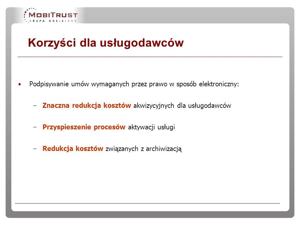 Korzyści dla usługodawców Podpisywanie umów wymaganych przez prawo w sposób elektroniczny: –Znaczna redukcja kosztów akwizycyjnych dla usługodawców –P