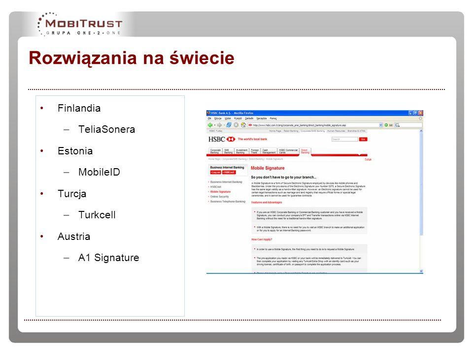 Rozwiązania na świecie Finlandia –TeliaSonera Estonia –MobileID Turcja –Turkcell Austria –A1 Signature