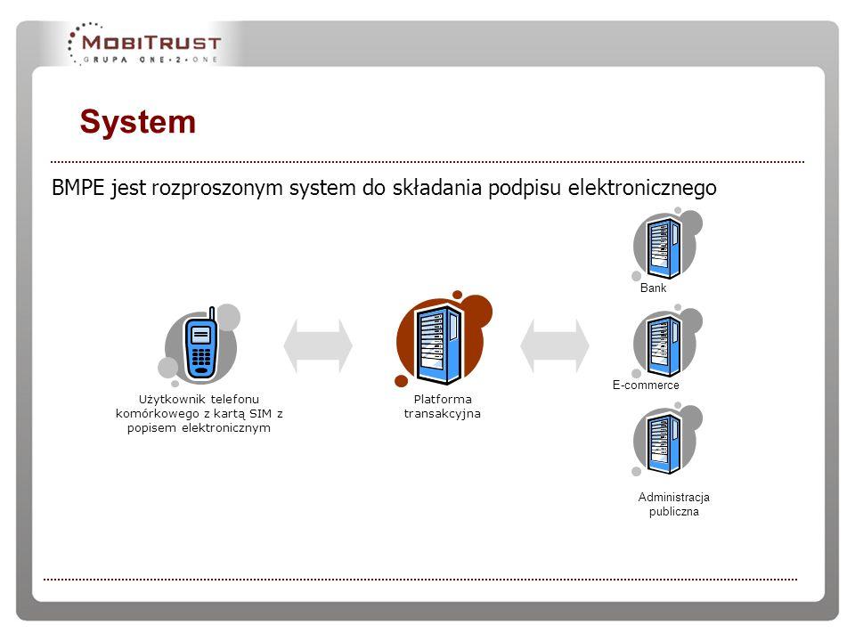 System BMPE jest rozproszonym system do składania podpisu elektronicznego Administracja publiczna Bank E-commerce Platforma transakcyjna Użytkownik te
