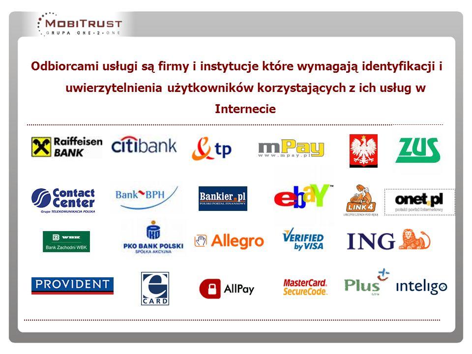 Odbiorcami usługi są firmy i instytucje które wymagają identyfikacji i uwierzytelnienia użytkowników korzystających z ich usług w Internecie