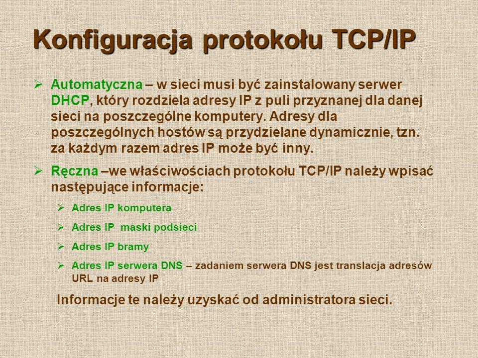 Konfiguracja protokołu TCP/IP Automatyczna – w sieci musi być zainstalowany serwer DHCP, który rozdziela adresy IP z puli przyznanej dla danej sieci na poszczególne komputery.