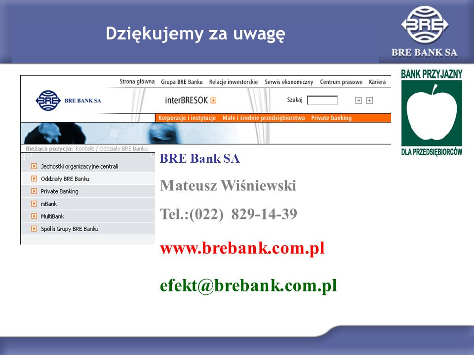 Dziękujemy za uwagę BRE Bank SA Mateusz Wiśniewski Tel.:(022) 829-14-39 www.brebank.com.pl efekt@brebank.com.pl