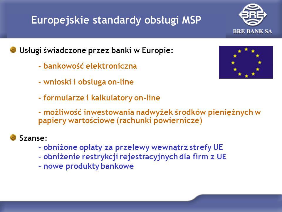 Europejskie standardy obsługi MSP Usługi świadczone przez banki w Europie: - bankowość elektroniczna - wnioski i obsługa on-line - formularze i kalkul