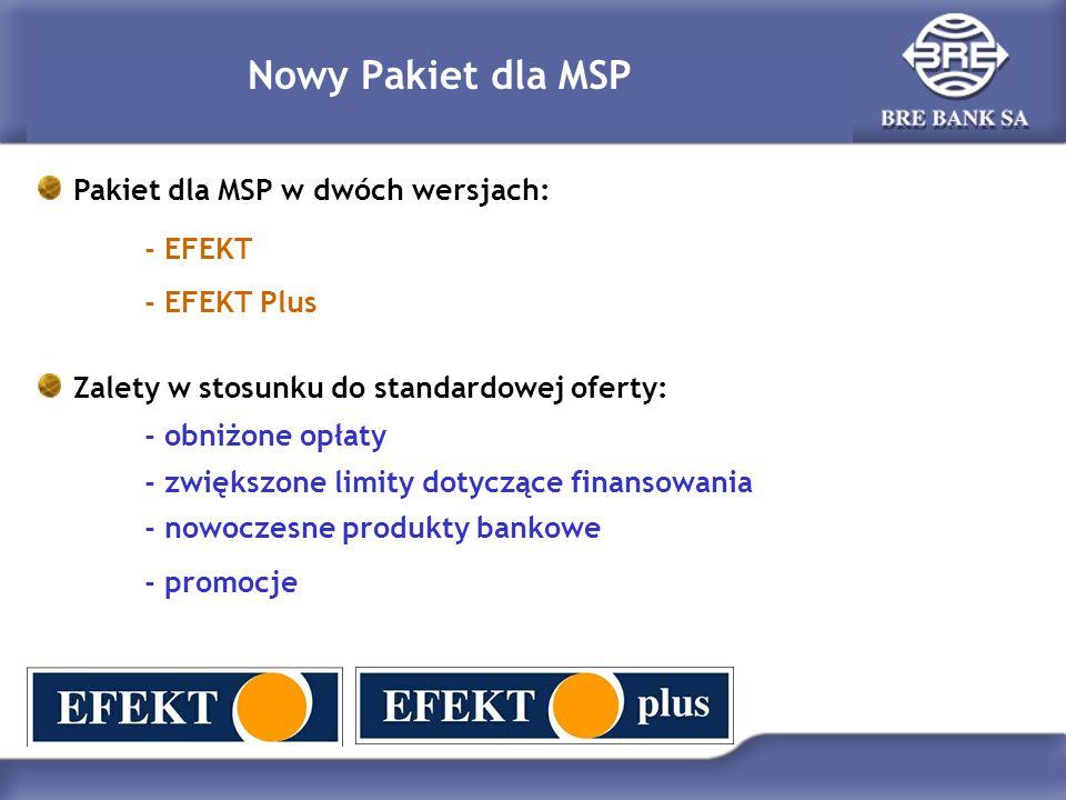 Nowy Pakiet dla MSP Pakiet dla MSP w dwóch wersjach: - EFEKT - EFEKT Plus Zalety w stosunku do standardowej oferty: - obniżone opłaty - zwiększone lim