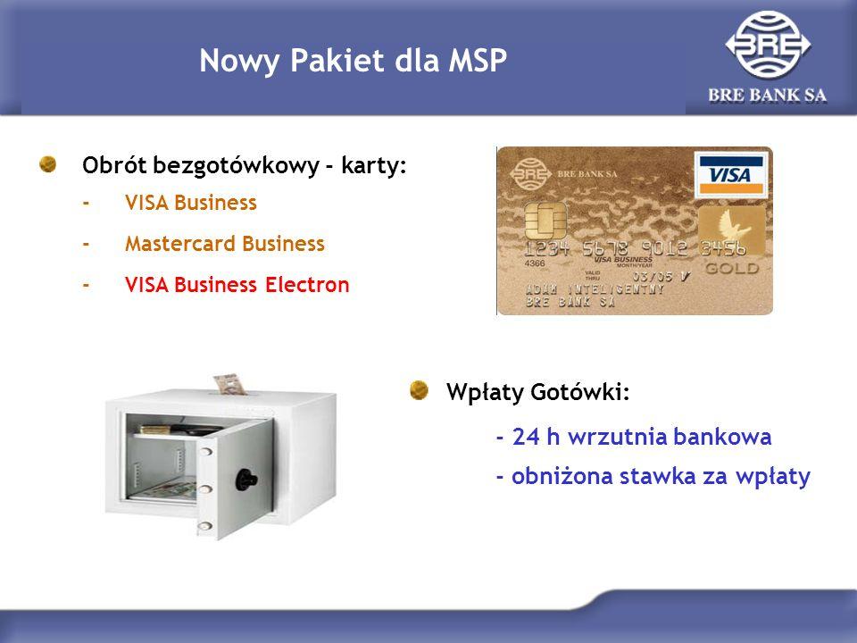 Nowy Pakiet dla MSP Wpłaty Gotówki: - 24 h wrzutnia bankowa - obniżona stawka za wpłaty Obrót bezgotówkowy - karty: -VISA Business -Mastercard Busines